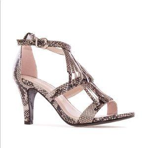 Snake Print Tassle Chic Sandals